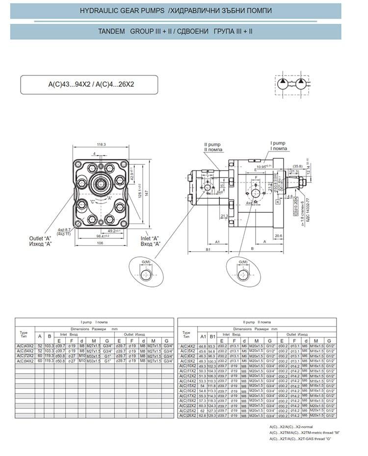 Сдвоени - строени хидравлични помпи - схема 11