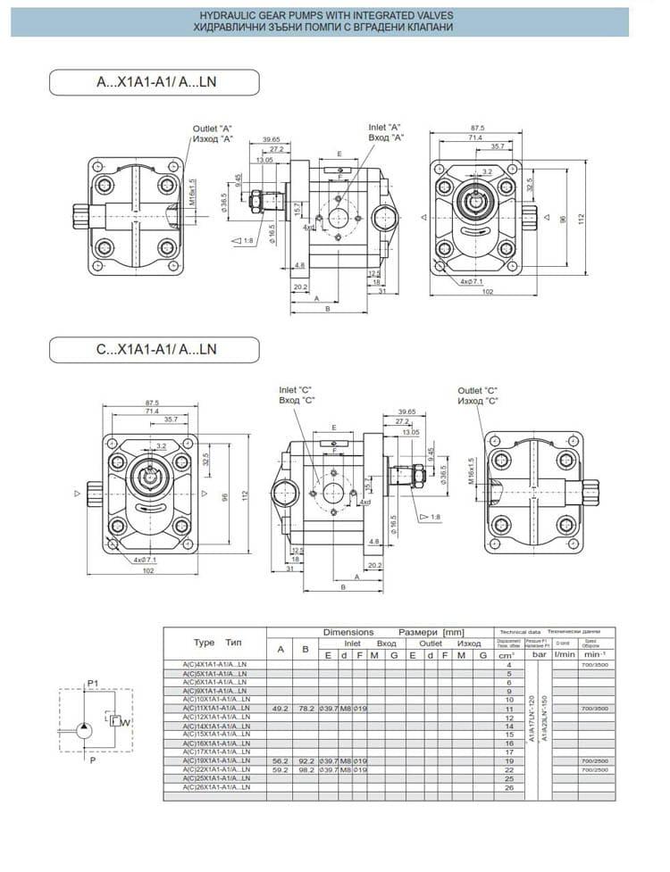 хидравлични зъбни помпи с вградени клапани - схеми 5
