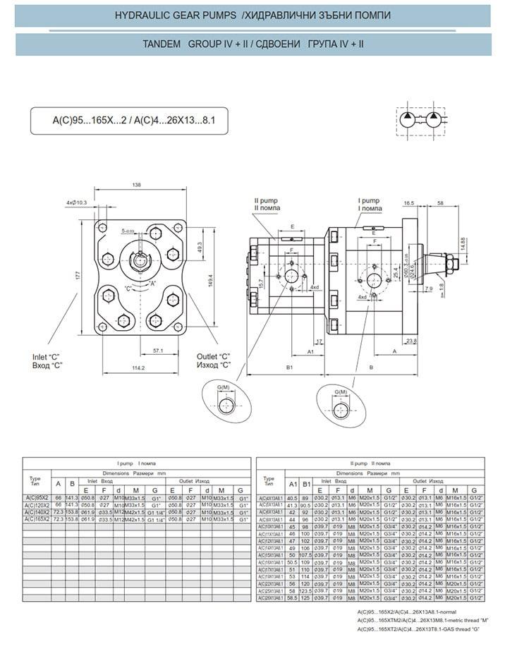 Сдвоени - строени хидравлични помпи - схема 13