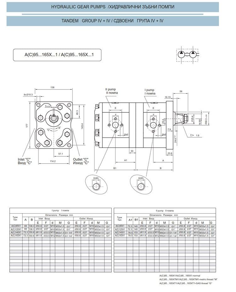 Сдвоени - строени хидравлични помпи - схема 15