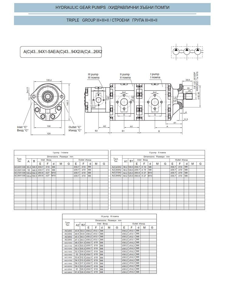 Сдвоени - строени хидравлични помпи - схема 21