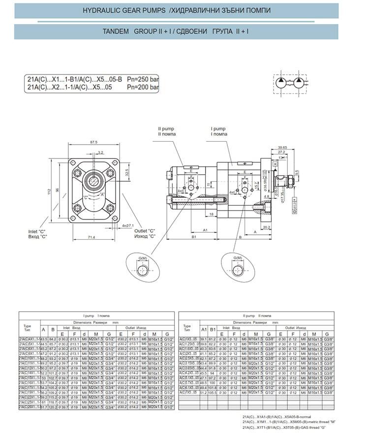 Сдвоени - строени хидравлични помпи - схема 3