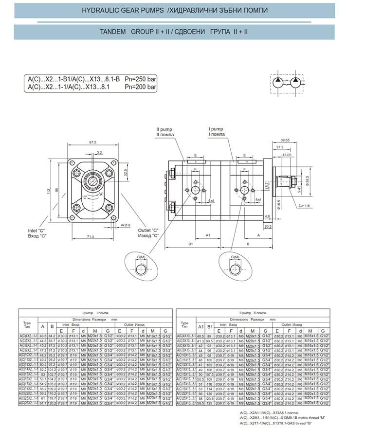 Сдвоени - строени хидравлични помпи - схема 4