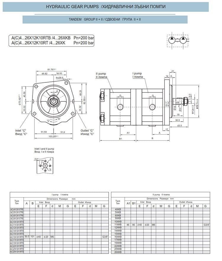 Сдвоени - строени хидравлични помпи - схема 7