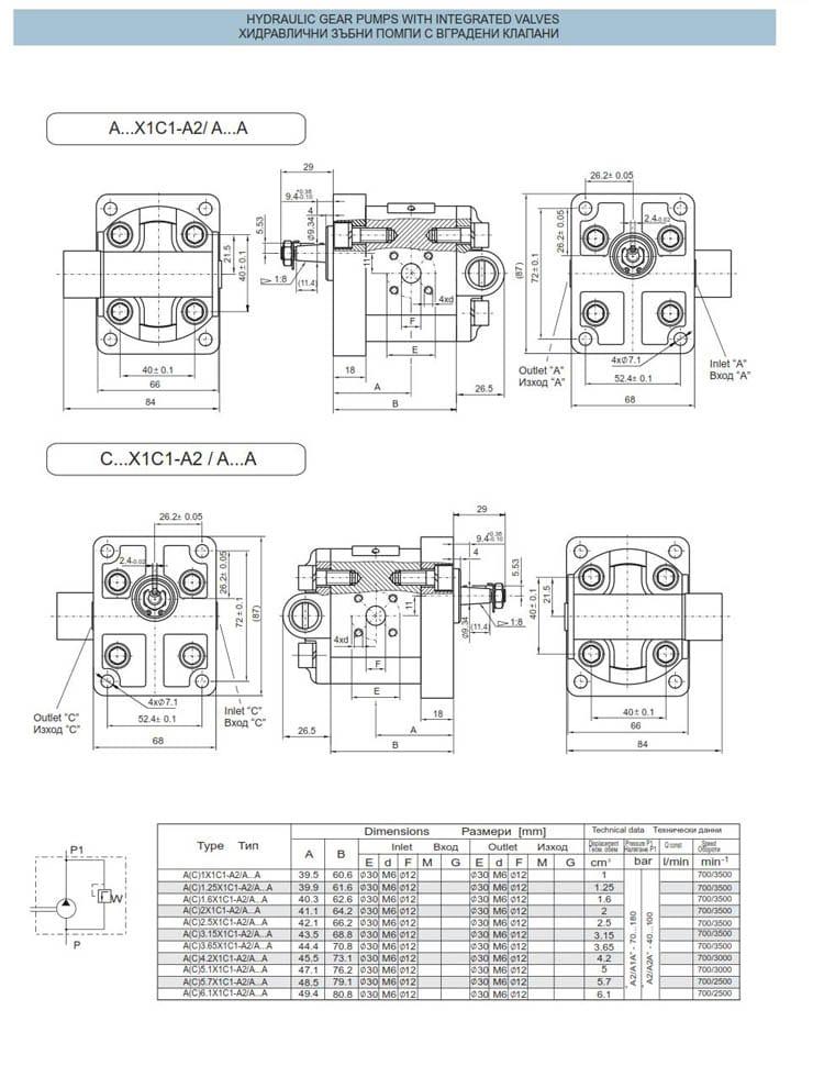 хидравлични зъбни помпи с вградени клапани - схеми 2