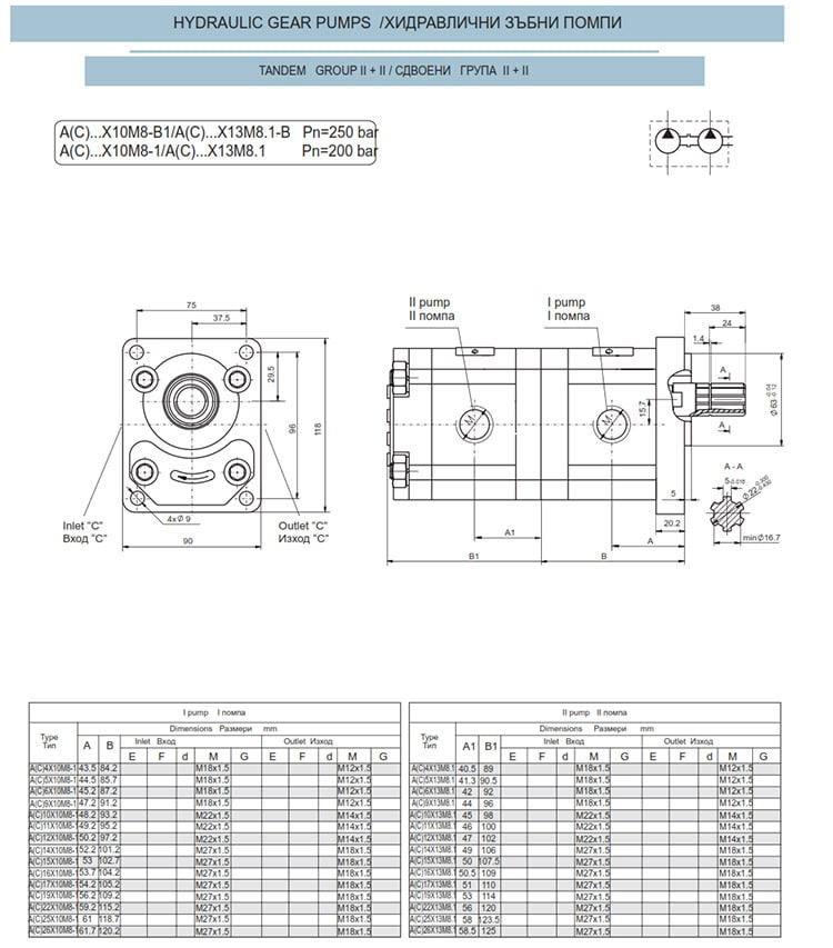 Сдвоени - строени хидравлични помпи - схема 9